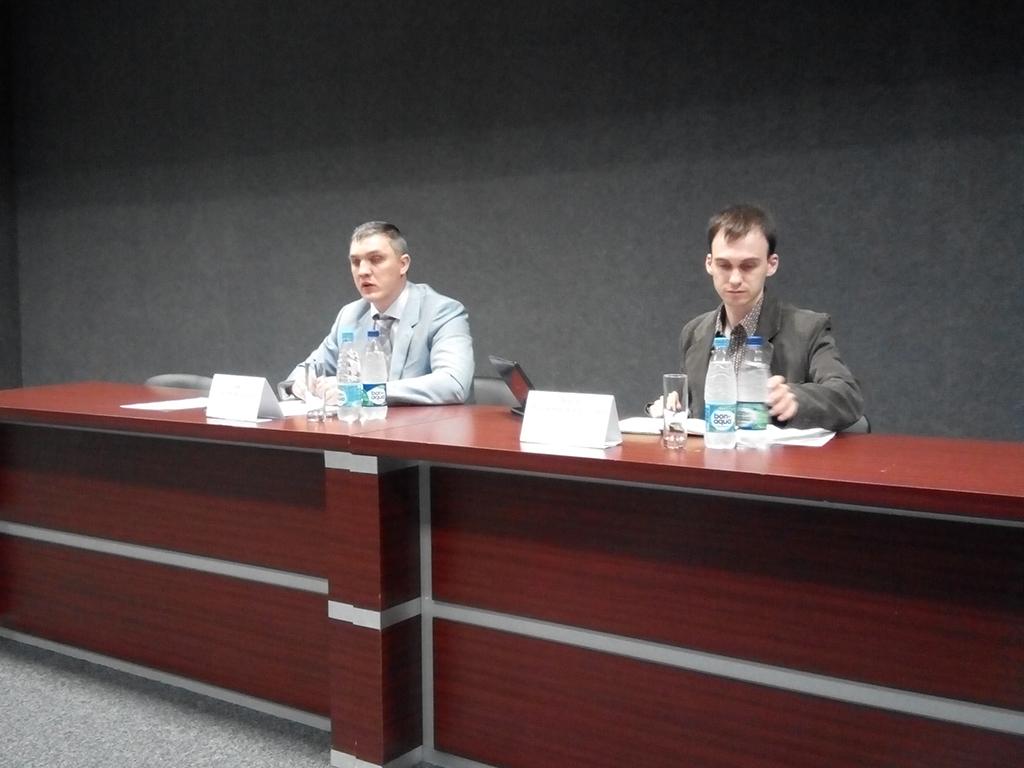 М. Ерофеев и В. Баков на рабочем совещании 2 июня 2015 г., Москва